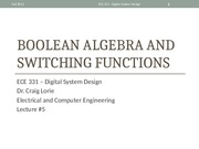 Lecture 6 - Boolean Algebra and Switching Functions