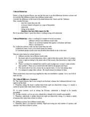 final Review Sheet Cultural Relativism