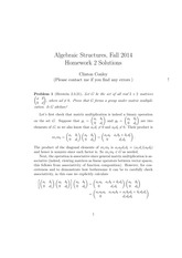 MATH 373 Fall 2014 Homework 2 Solutions