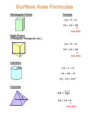 Surface Area Formulas