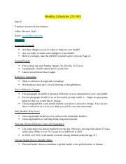 Healthy Lifestyles 231 Exam 1 Notes