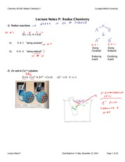Lecture Notes P: Redox Chemistry