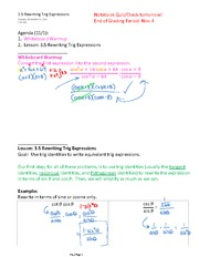 3.5 Rewriting Trig Expressions