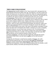 THE EARLY PALEOZOIC