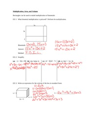 Multiplication, Area and Volume Notes