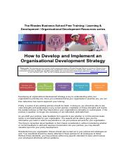How to Develop and Implement an Organisational Development Strategy