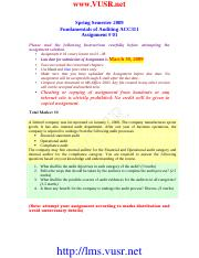 Fundamentals of Auditing - ACC311 spring 2009 Assignment 01.pdf