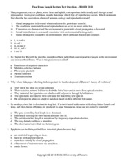 BIO120 - Final Exam Sample Lecture Test Questions - 2010