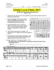 BIONB 2220 - Exam 3 Key (2013)