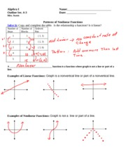 Patterns of Nonlinear Functions- filled in