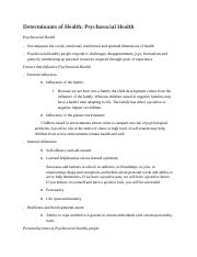 Determinants of Health- Psycosocial Health Notes.docx
