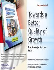 Towards a better quality growth