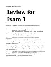 Final Exam Review Geog 1301