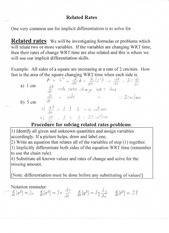 Related Rates Notes