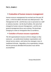 Evaluation of human resource management