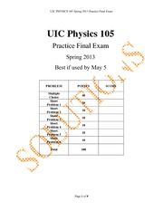 Physics 105 - Final Exam Practice with Answers