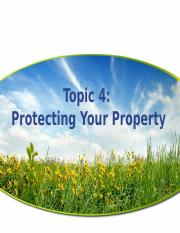 Topic 4 Protecting Your Property