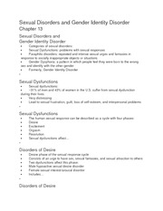 Sexual Disorders and Gender Identity Disorder CH 13 notes