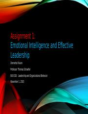 Assignment 1 Emotional Intelligence and Effective Leadership