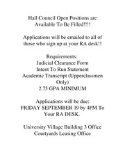 Hall Council Open Positions are Available To Be Filled