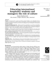 Educating international hospitality students and managers the role of culture