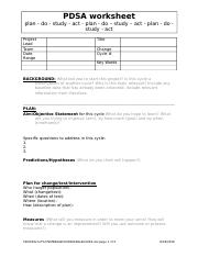 Pdsa Worksheet Template V2 Pdsa Worksheet Plan Do Study Act Plan