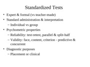 PSYCH 212 Standardized Tests and Teaching