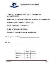 Exam Paper for International Business Environment.docx