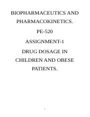 DRUG DOSAGE IN CHILDREN AND OBESE PATIENTS