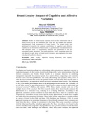 Brand Loyalty Impact of Cognitive and Affective Variables