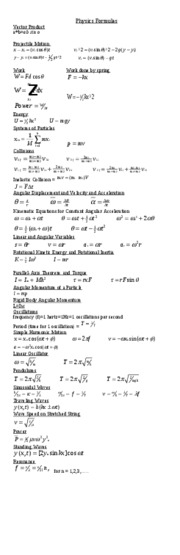 Physics Cheat Sheet (Projectile Motion & Energy) (2 ...