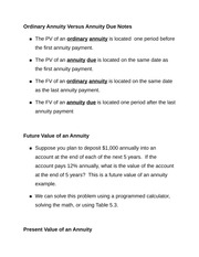 Ordinary Annuity Versus Annuity Due Notes