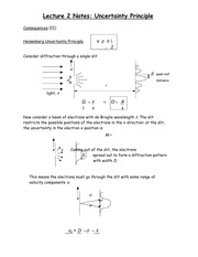 Lecture 2 Notes Uncertainty Principle