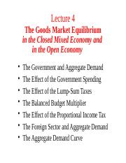 Lecture 4. Goods Market Equilibrium in the Mixed and Open Economy (6)