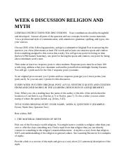 WEEK 6 DISCUSSION RELIGION AND MYTH.docx