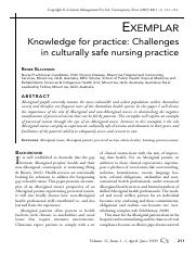 Step 1 Blackman, Renee. (2009) EXEMPLAR Knowledge for practice: Challenges in culturally safe nursin