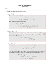 Exam Practice B Solutions on Elements of Calculus for Business
