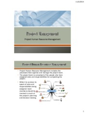 Lecture 8 Project HR Management for Project Management for Chemical Engineering