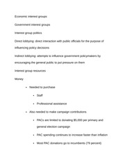 Notes on Economic interest groups