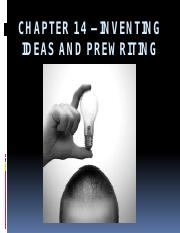 Chapter 14 – Inventing Ideas and Prewriting.pptx