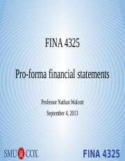 Lecture 3 - Pro-forma statements