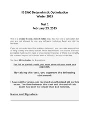 IE 6560 Midterm Exam Winter 2015 (Solutions)