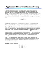Application of Invertible Matrices