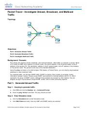 7.1.3.8 Packet Tracer - Investigate Unicast, Broadcast, and Multicast Traffic- Daniel Bostic
