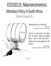 Week 10 - Monetary Policy