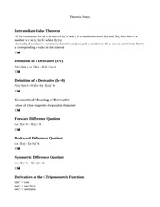 Survey of Calculus Theorem Notes