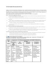 CIS 312   Reliable Pharmaceutical Service Final Project Plan