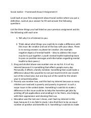 Social Justice – Framework Essay II Assignment 4-1.docx