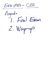ENG 1P03 2011 (C02) -- Notes from Final Lecture-2