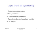 Lecture 5  Digital Scopes and Signal Fidelity Spr2010